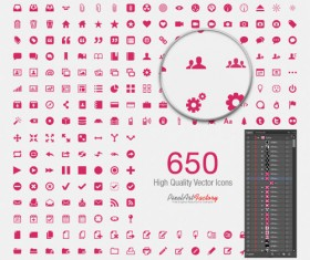 Cute pink social with web icons vector set
