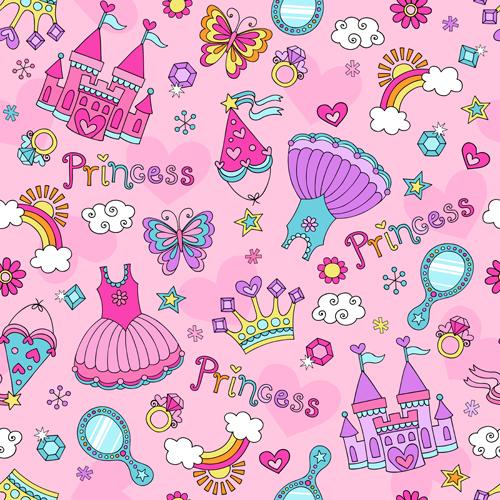 Cute Princess Elements Pattern Vector Vector Pattern