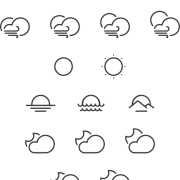 Link toCute weather line icons vector material