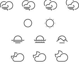 Cute weather line icons vector material
