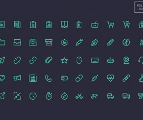 Dark green line system icons