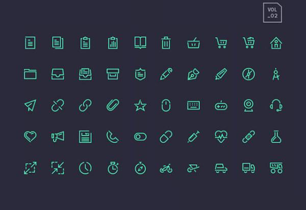 Dark green line system icons