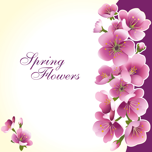 Dark pink flower spring background set vector 02 – Over ...