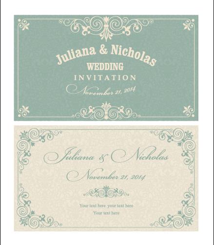 Decorative pattern wedding invitation cards vector set 02