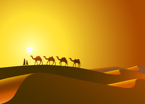 Desert and camel background vector vector background free download