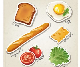 Different breakfast food vector icons material 02