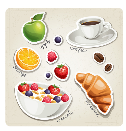 Different breakfast food vector icons material 03