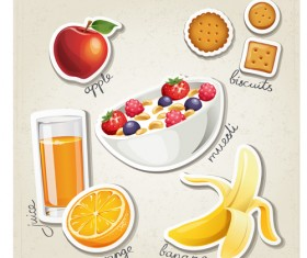 Different breakfast food vector icons material 04