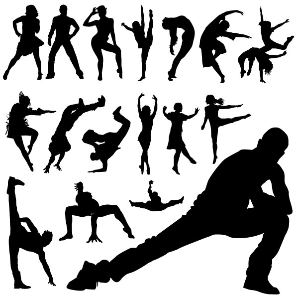 Different dance people silhouettes vector