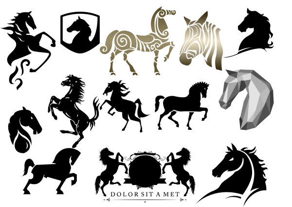 Different Horse Silhouette Design Psd Graphic Free Download