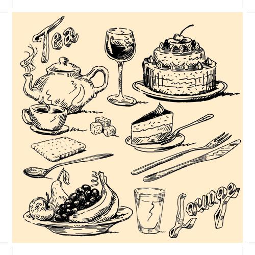 Drawing foods retro illustrations vector 01 free download  Retro Clip Art Food
