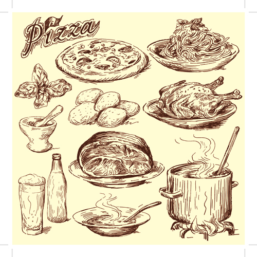 Drawing foods retro illustrations vector 04 vector food free