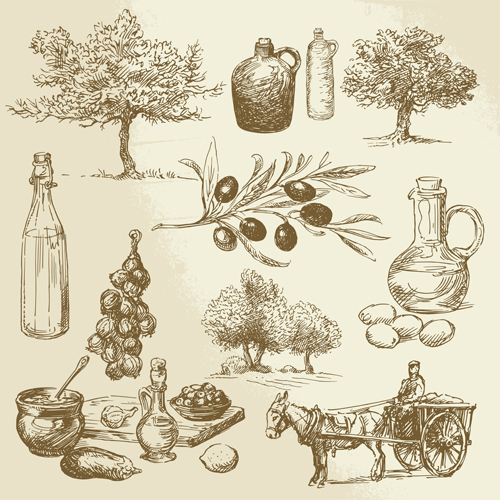 Drawing foods retro illustrations vector 11 - Vector Food ...  Retro Clip Art Food
