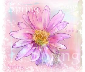 Drawn watercolor flower art background vector set 04