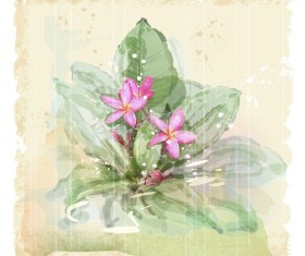 Drawn watercolor flower art background vector set 05
