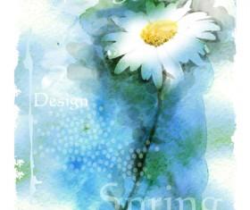 Drawn watercolor flower art background vector set 06