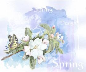 Drawn watercolor flower art background vector set 07