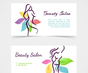 Exquisite beauty salon business cards vector material 01