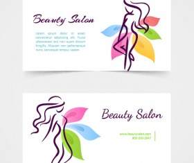 Exquisite beauty salon business cards vector material 03