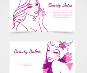 Exquisite beauty salon business cards vector material 06