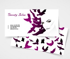 Exquisite beauty salon business cards vector material 07