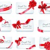 Exquisite ribbon bow gift cards vector set 06