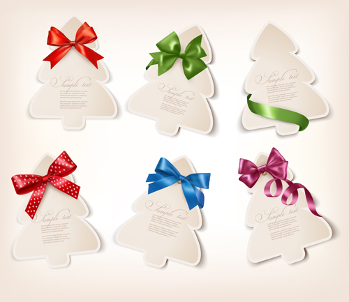 Exquisite ribbon bow gift cards vector set 17