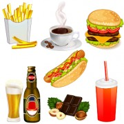 Link toFast food elements icons vector set