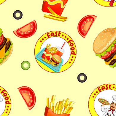 Fast food seamless pattern design vector