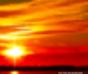 Fiery red sunset background art 02