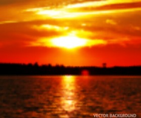 Fiery red sunset background art 05
