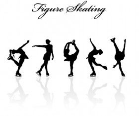 Figure skating design vector silhouettes