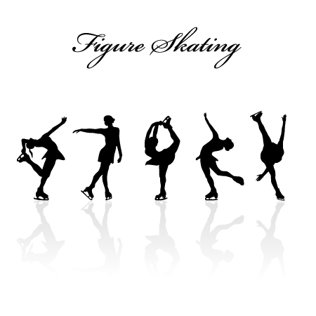 figure skating design vector silhouettes - vector people, vector