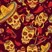 Link toFloral skulls seamless pattern vector set 04