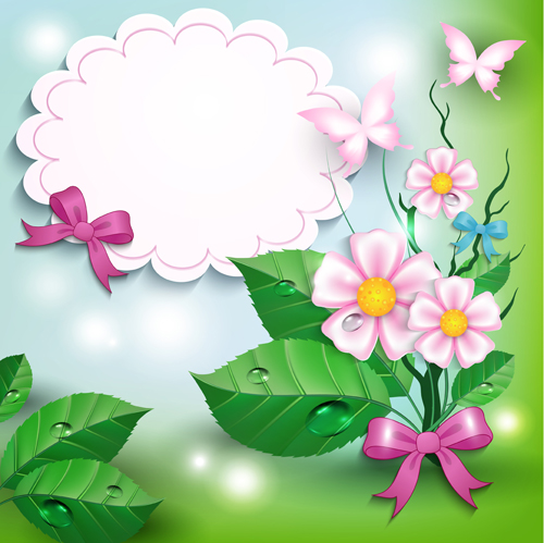 Flowers And Butterflies With Bow Background Vector 01 Free