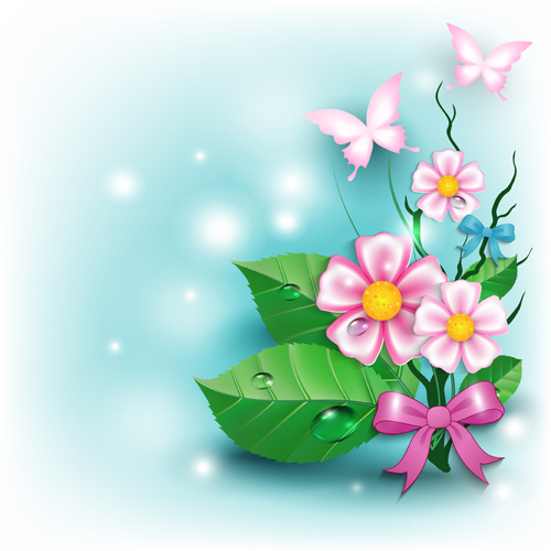 Flowers And Butterflies With Bow Background Vector 02 Free