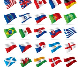 Flowing flags Icons vector material