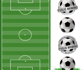 Football field with football labels vector 01