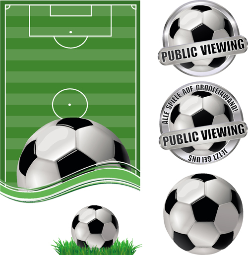 Football field with football labels vector 02