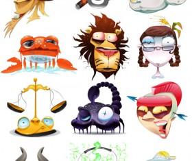 Funny cartoon zodiac design vector