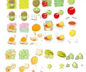 Funny fruits expression icons vector