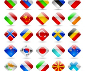 Glass texture flag Icons vector set 01