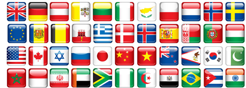 Glass texture flag Icons vector set 02
