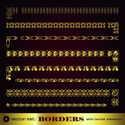 Link toGolden borders with corners elements vector graphic 02