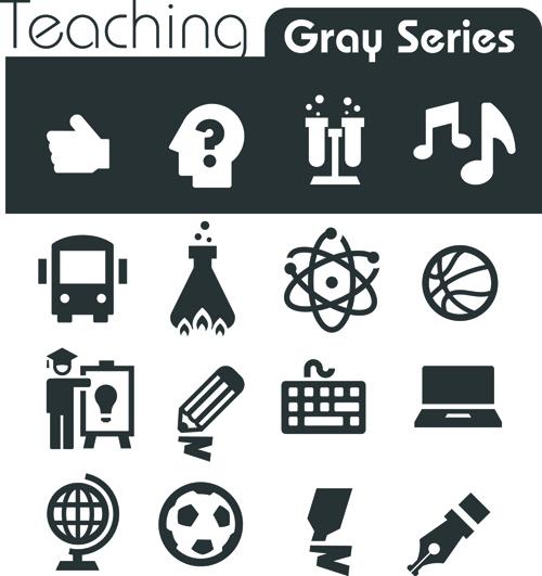 Gray series social icons vector set 01