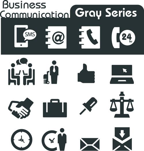 Gray series social icons vector set 05