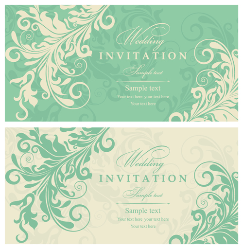 Gray vintage style floral invitations cards vector 02 Vector – Vintage Invitation Cards