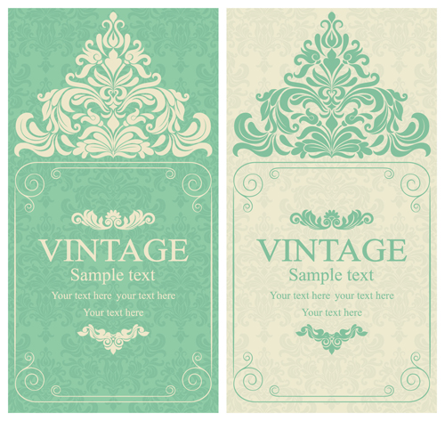 Gray vintage style floral invitations cards vector 06 Vector – Vintage Invitation Cards