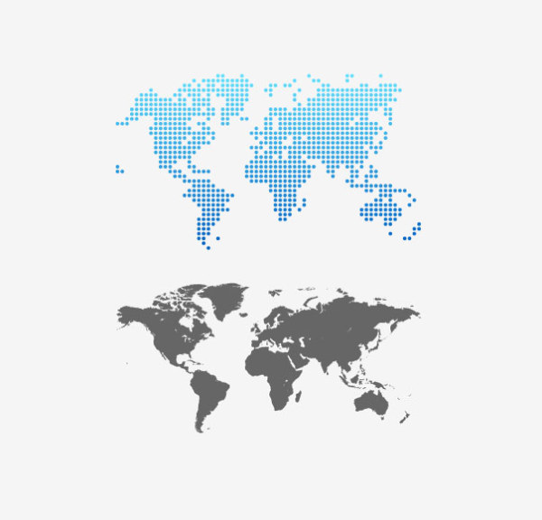Gray world map design vector free download