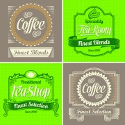 Link toGreen and brown coffee labels vector